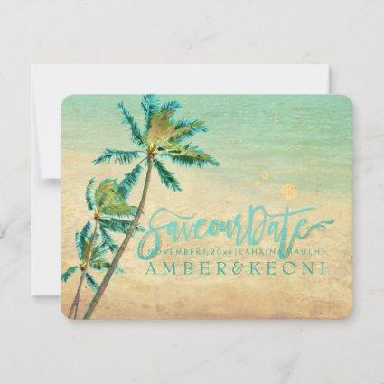 PixDezines Vintage Beach/Palm Trees/Save the Date Save The Date