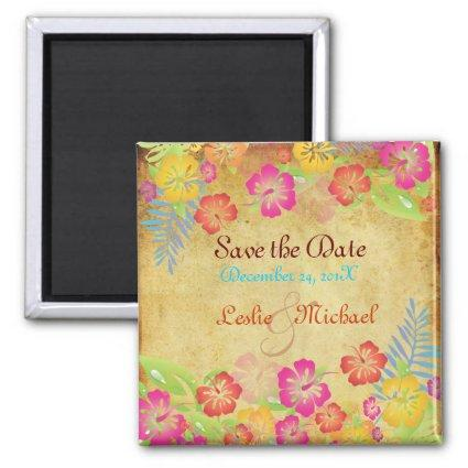 PixDezines Vintage Leis Hibiscus, Save the Date Magnet