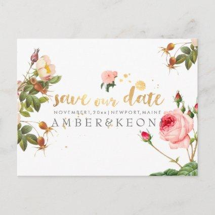 PixDezines vintage roses/floral/save the date Announcements Cards