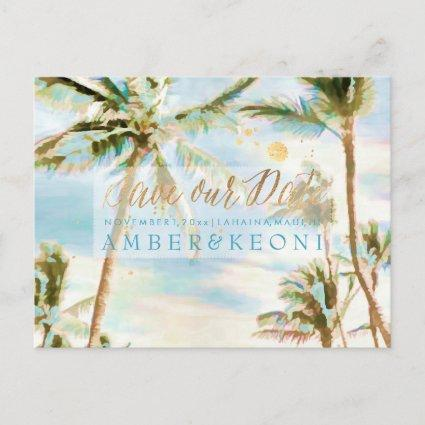 PixDezines Watercolor Beach Save Date Photo Announcement