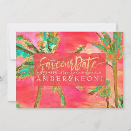 PixDezines Watercolor Vintage Hawaii/Save the Date Save The Date