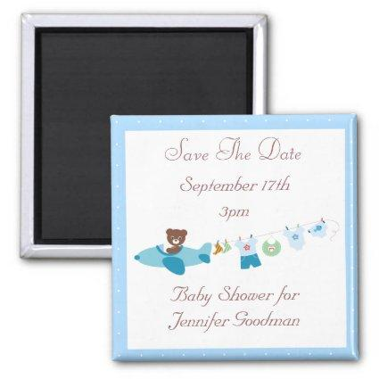 Plane & Clothesline Blue Save The Date Baby Shower Magnet