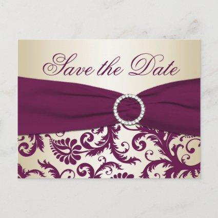 Plum and Champagne Damask