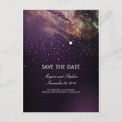 Plum and Gold Shooting Star Night Save The Date Announcement