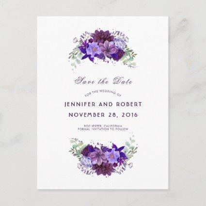 Plum and Violet Purple Wreath Save the Date Announcement