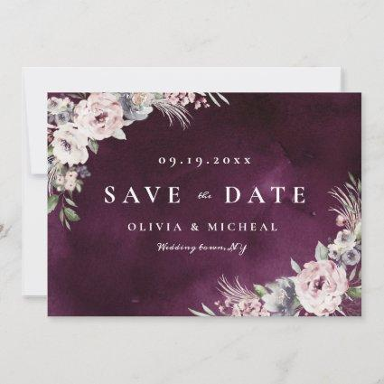 Plum & dusty pink rustic boho floral save the date