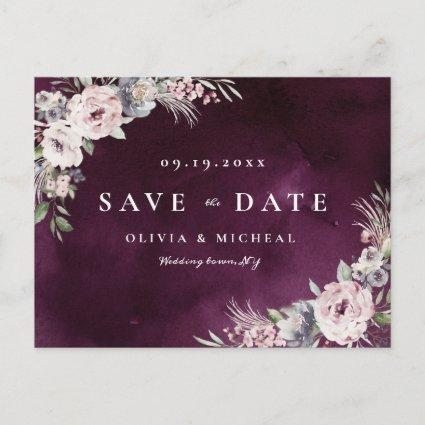 Plum & dusty pink rustic boho floral save the date announcement