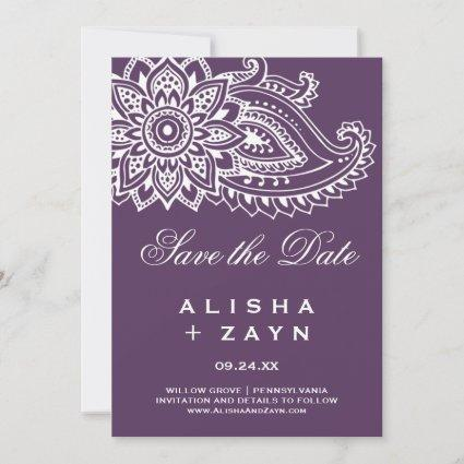 Plum Indian Paisley Save the Date Card