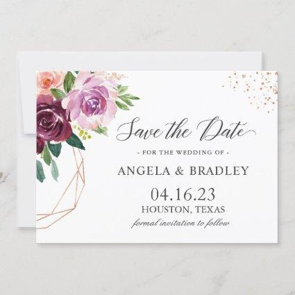 34c309f612d14 Plum Purple Blush Floral Modern Rose Gold Wedding Save The Date