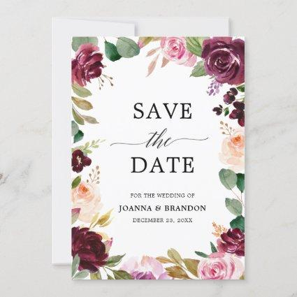 Plum Purple Blush Pink Botanical Floral Wedding Save The Date