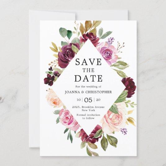Plum Purple Blush Pink Geometric Floral Wedding Save The Date