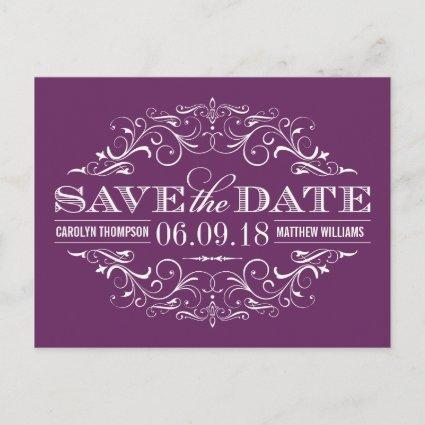 Plum Purple Save the Date | Swirl and Flourish Announcement