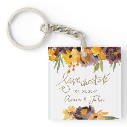 Plum Yellow Floral Gold Calligraphy Save The Date Keychain