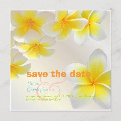 Plumeria leis/ Save the Date