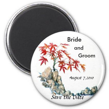 PMACarlson Red Maple Bonsai Save the Date Magnet