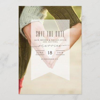 Pointed Banner Overlay | Save The Date Photo