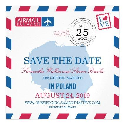 POLAND Airmail Save the Date Magnetic Invitation