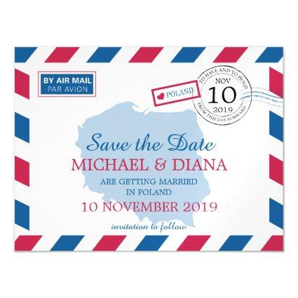 Poland Airmail | Save the Date Magnetic Invitation