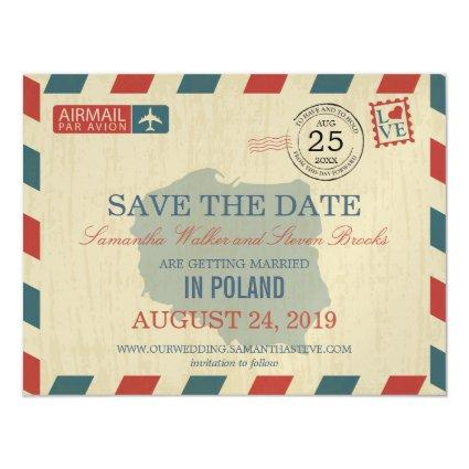 POLAND Antique Airmail Save the Date Magnetic Invitation