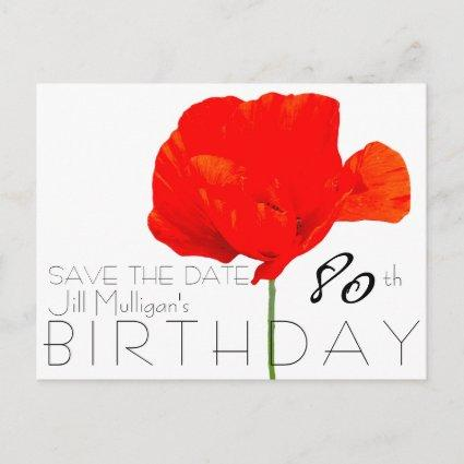 POPPY Collection 80th Birthday Save the Date Announcement