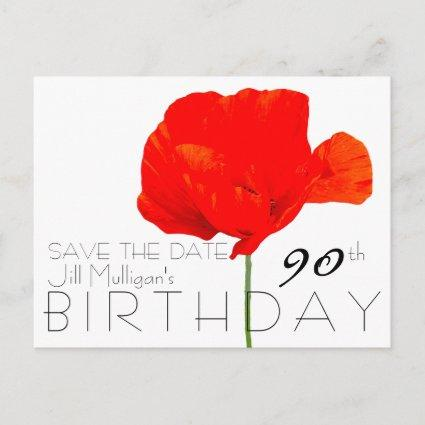 POPPY Collection 90th Birthday Save the Date Announcements Cards