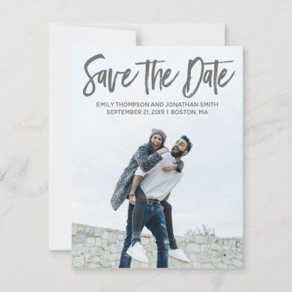 Portrait Picture Wedding Save the Date Card Modern