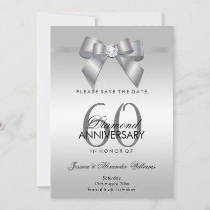 Posh Gem Bow & Ribbon 60th Wedding Anniversary Save The Date