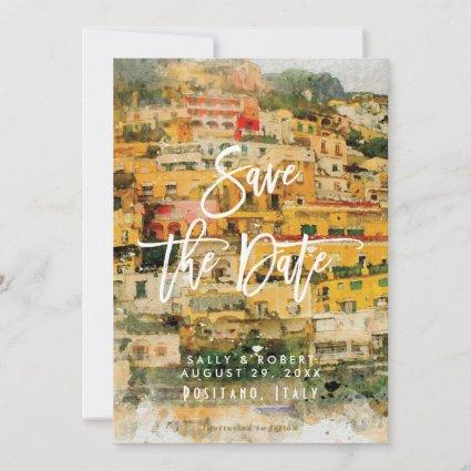 Positano Italy summer wedding save the date card