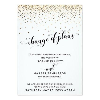Postponed Wedding Gold Confetti Change of Plans Invitation