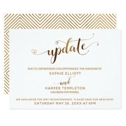 Postponed Wedding Update Gold Hearts Calligraphy Invitation