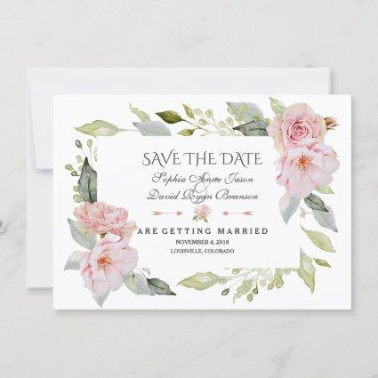 Pretty Blush Pink Floral Wedding Save The Date