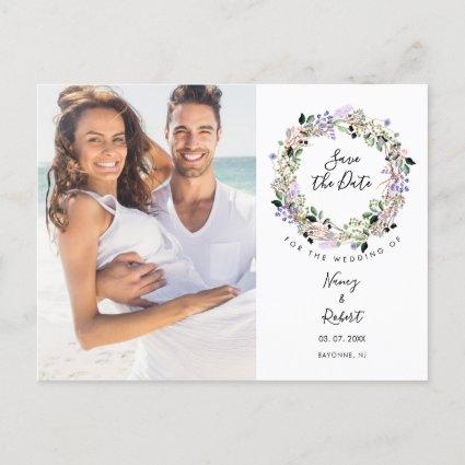 Pretty Lavender Floral Garland Photo Save the Date Announcement