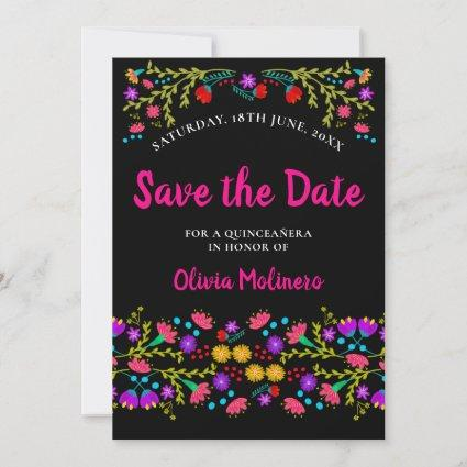 Pretty Mexican Fiesta Floral Black and Pink Save The Date