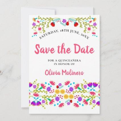 Pretty Mexican Fiesta Floral White and Pink Save The Date