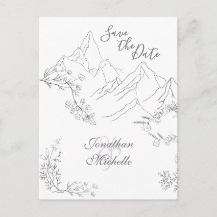 Pretty Mountains and Flowers Save the Date Wedding Announcement