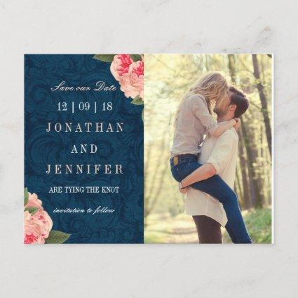 Pretty Navy and Coral Save the Date Cards
