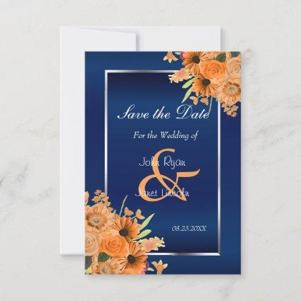 Pretty Orange Flowers on Navy Blue Save The Date