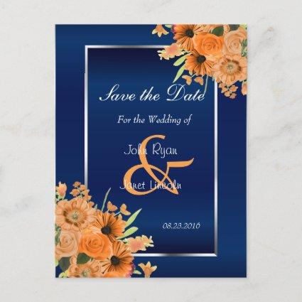 Pretty Orange Flowers on Navy Blue- Save The Date Announcement