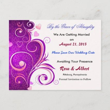 Pretty Save the Date Wedding Cards (Purple)