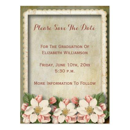 Pretty Vintage Flowers Graduation Save The Date Cards