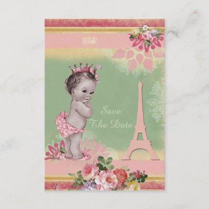 Princess Eiffel Tower Baby Shower Save The Date