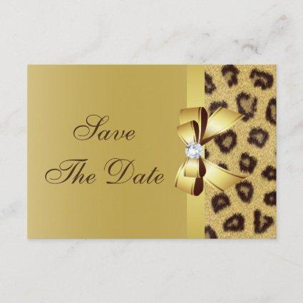 Printed Bow, Diamond & Leopard Print Save the Date
