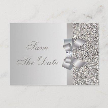 Printed Silver Sequins Bow & Diamond Save the Date