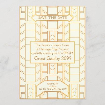 Prom Senior-Junior, Great Gatsby, Gold, ivory Save The Date
