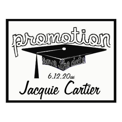 Promotion Graduation Typography Hat Save The Date Cards