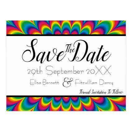 Psychedelic Tie Dye Save the Date Cards