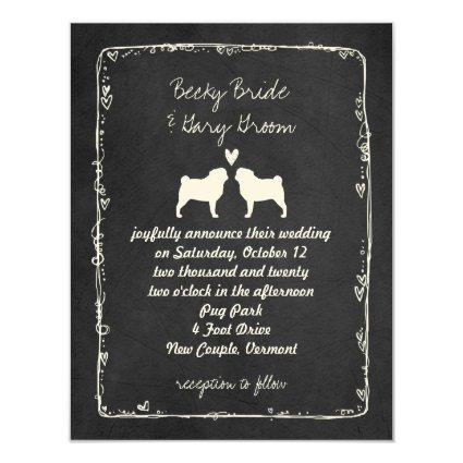 Pug Silhouettes Dog Lover's Wedding Announcement