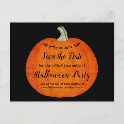 Pumpkin Oil Paint Halloween Party Save the Date Announcement