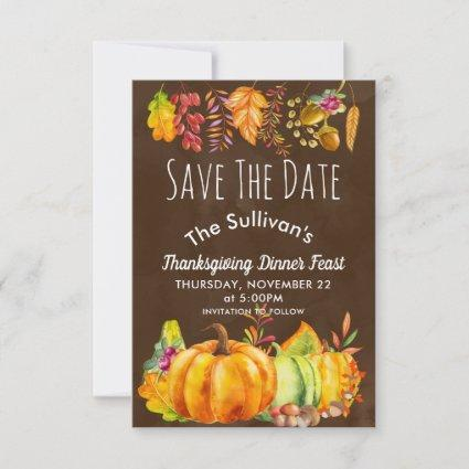Pumpkins and Autumn Leaves Border Save the Date