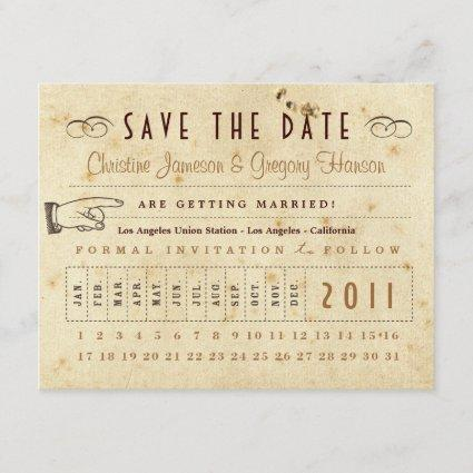 Punch Card Save the Date - Vintage Colors